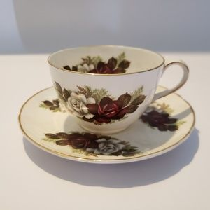 Peacock china Red and white rose cup saucer